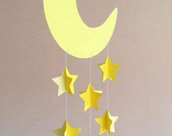 Baby crib mobile, nursery mobile, decorative hanging, nursery decoration with moon and stars sewn with yellow paper, handmade, 3D