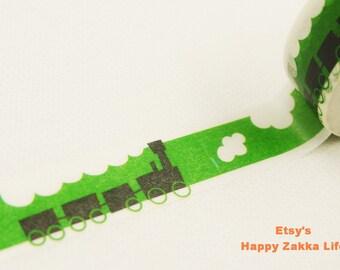 Japanese Washi Masking Tape - Black Train - Shinzi Katoh - 11 yards