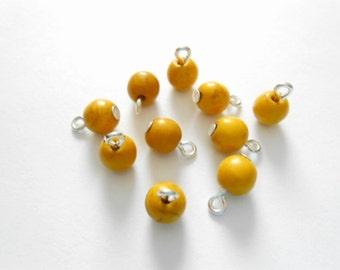 Yellow Howlite  Turquoise Dangle  Beads
