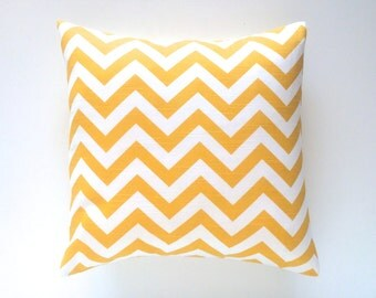 Yellow Chevron Zig Zag Pillows. Decorative Pillow Covers. 18 X 18 Inch Corn Yellow and White