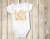 Hello World DIY Iron on T Shirt Bodysuit Transfer - Birth Announcment (Hello World Gold Glitter)