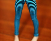 MSD Clothes Aqua And Black Striped Leggings For MNF BJD