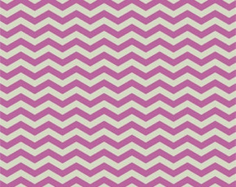Purple Orchid and Cream Chevron Fabric - True Colors by Heather Bailey from Free Spirit - 1/2 Yard