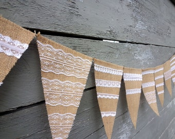 CLEARANCE SALE, Burlap and lace banner.
