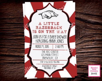 RAZORBACK BABY SHOWER Arkansas Razorbacks Baby Shower Invite, Hogs Shower Invite, Arkansas Shower, Hogs Baby Shower, Razorbacks