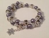 READY TO SHIP- Nursing/Breastfeeding Bracelet Lavender  and White #31