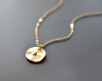 10% OFF, Initial Gold necklace, Personalized, Disk necklace, Gold necklace, Goldfilled, Birthday necklace, Christmas gift, Name necklace