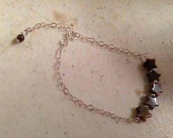 Brown Bracelet - Tiger Eye Jewelry - Children Bracelet - Sterling Silver Jewellery - Tiger Eye Gemstone - Chain - Star Bracelet