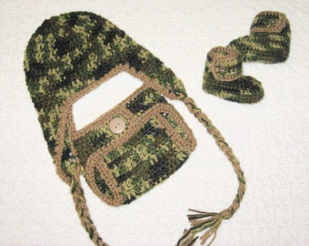 Little Hunter Camo Baby Diaper Cover, Hat with ear flaps and braids and Booties Set-  Baby Shower Gift,