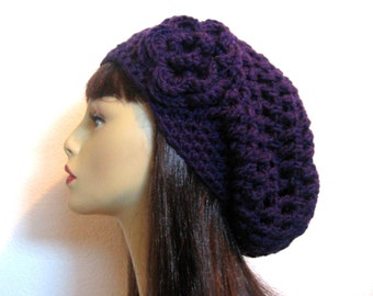 Crochet Purple Slouchy Hat with flower Crochet Beanie Purple Slouch Cap Purple Slouchy Beret Purple Hat Crochet Slouch Hat Purple beanie