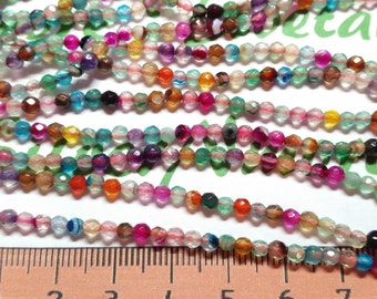 1 strand per pack approx. 130 beads of Tiny 3mm Faceted Round Multicolor Agate