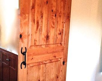 Barn door handle, Horseshoe door pulls, handle hardware, incl. wood screws