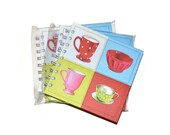 Hardcover Blank Journals Set of Three 5x5 Color BlockTea Cups  Journals Craft Supplies