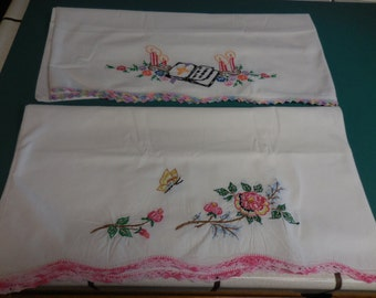 Two Pairs of Vintage PILLOWCASES with EMBROIDERY and CROCHET - Estate Find - Hand Embroidered Flowers