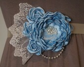Light Blue Its a Boy Maternity Sash with Ivory Pearls Lace and Beading