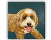 "12x12"" Custom Dog Portrait Acrylic / Custom Pet Portrait / Custom Portrait - 1 Pet Solid background Painting on Wrapped Canvas"