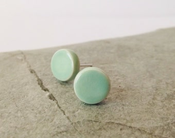 Ceramic Pottery Small Stud Earrings, Post Earrings, Everyday Earrings, Simple Earrings, Paris Green, Mint