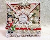 OOAK Magnolia Tilda Criss Cross Christmas Card