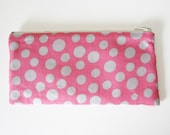 Pink Spotted Slim Wallet Large Coin Purse with Zip and Card Slots