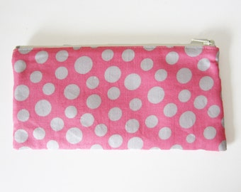 Women's Wallet / Slim Clutch Purse / Large Coin Purse with Zip and Card Slots in Pink