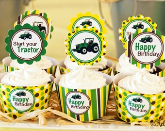 Tractor Birthday Party Cupcake Kit- 2 Inch Party Circles and Cupcake Wrappers, Instant Download, Printable