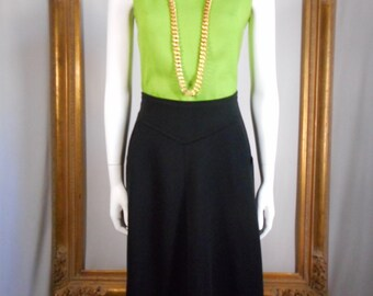 CLEARANCE Vintage 1970's Black Wool Knit Skirt - Size 6