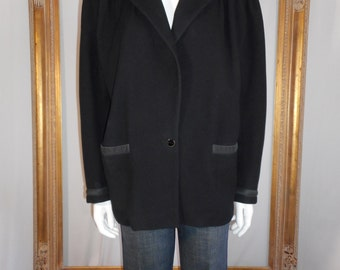 Vintage 1980's Gianni Versace Black Wool Jacket - Size 10