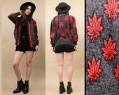 80s Vtg Grey+Red MARiJUANA Pot Leaf Print WEED Sweater / KNIT Wool MOHAiR Batwing Slouchy Fit CARDiGan Jumper / Button Front / Xs - Sm - Med