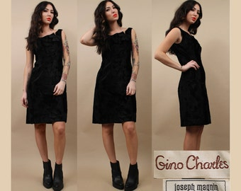 50s 60s Vtg GINO CHARLES Black PONY Fur SiLk Mini Dress / Bow Detail / Gorgeous Faux Horsehair / Mod Cocktail Party Dress /Sm - Med '12'