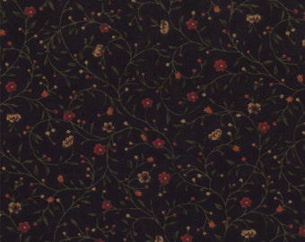 moda fabric by 1/2 yard Kansas Troubles Quilters FAVORITES II- flower sprigs on black 9410-19
