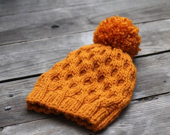 Knitting pattern, knitting tutorial, Knit hat pattern, honeycomb hat winter PDF