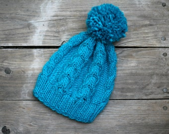 Knit hat winter accessories turquoise blue hat with pom pom winter hat