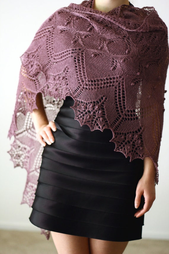 Hand knit shawl lace elegant triangular gift for her - Made to order christmas gift