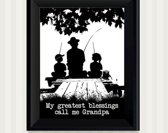 My Greatest Blessings Call Me Grandpa Fishing on the Dock Wall Art Print Fathers Day Dad Gifts