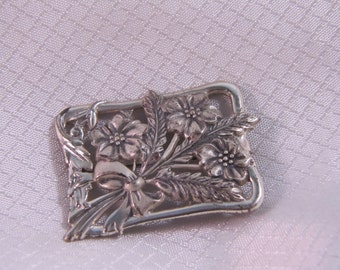 c1900 Victorian Forget Me Not Bouquet Sterling Brooch, Repousse Sterling Brooch
