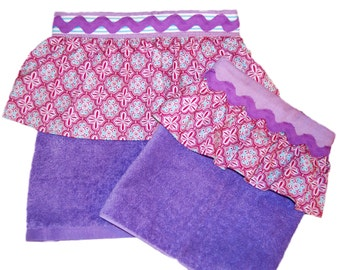 Mother Daughter Vintage Lavender Terry Cloth Ruffled Aprons