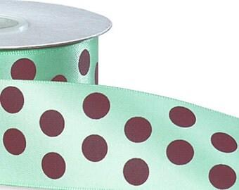 "5YDS x 1-1/2"" AQUA Satin Ribbon with Chocolate Brown Polka Dots"