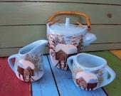 Mid Century Matthew Adams Alaska Series Cabin Pottery 3 Piece Signed
