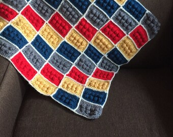 Handmade Crochet baby stroller Blanket/ traveller/new born/ cozy crochet blanket, lego blanket