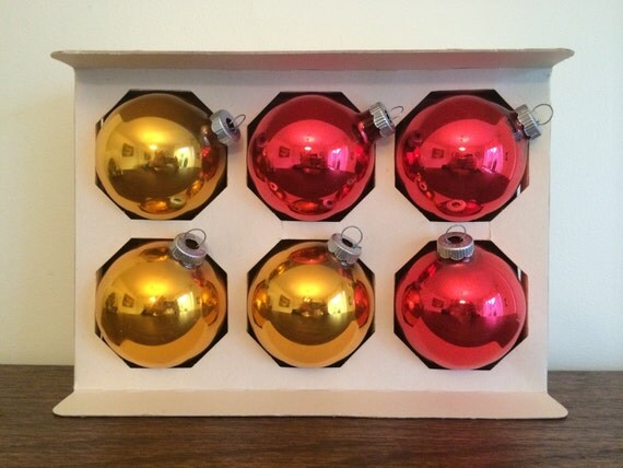 Large Red Christmas Tree Ornaments : Six large shiny brite christmas tree ornaments gold and red