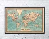 Old map  - World map - Map of the World -  Decorative giclee map - Large map of the world - Print