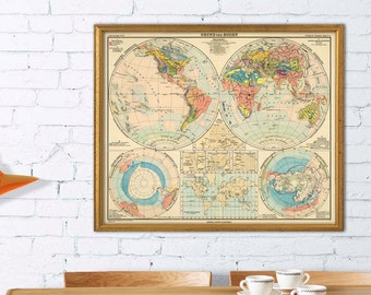 Old map of the world - Geological map - German  map of the world  - Fine print