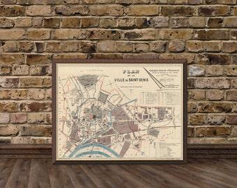 Saint Denis  map (France) - Vintage map of Saint Denis - Plan de la ville de Saint Denis - Fine print