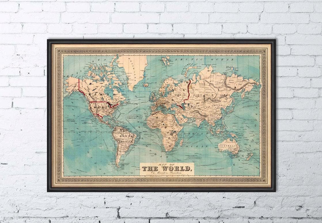 ancienne carte mappemonde carte du monde carte. Black Bedroom Furniture Sets. Home Design Ideas