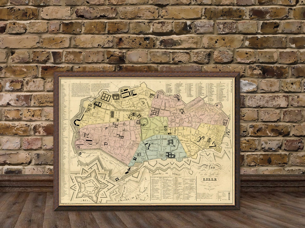 Vintage map of lille france lille map old map of lille - Boutique vintage lille ...