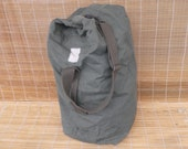 Vintage Distressed Washed Out Army Green Canvas Duffel Bag Backpack