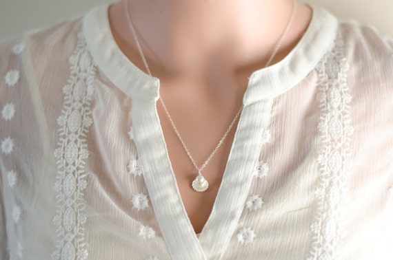 Sterling Silver Sea Shell Necklace | Crystal Pearl or Birthstone Crystal | Bridesmaids Bridal Wedding Jewelry | Beach Nautical Theme