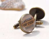 Father of the Bride Cufflinks Vintage Style Font