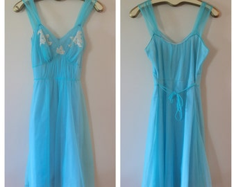 Robbin's Egg Blue Sweet Feminine Flirty Nightgown
