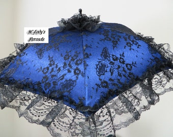 VICTORIAN PARASOL Umbrella in Your Choice Color Satin with Delicate Black Chantilly Lace Overlay and Black Lace Ruffle Bridal Civil War